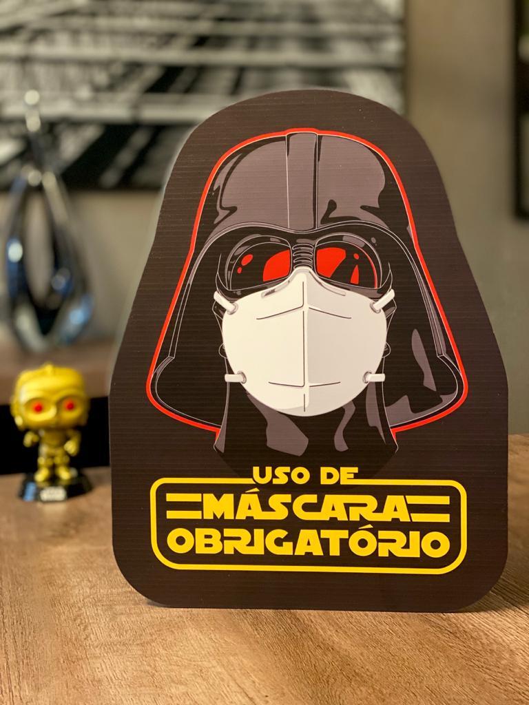 Placa Decorativa Use Máscara: Darth Vader (Star Wars) - Preta
