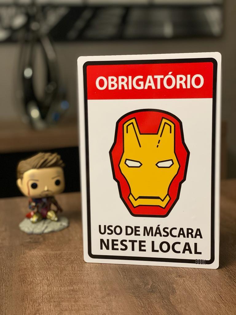 Placa Decorativa Use Máscara: Homem de Ferro (Iron Man) Marvel Comics