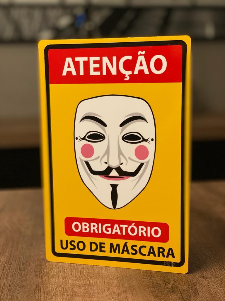 Placa Decorativa Use Máscara: V (V de Vingança)