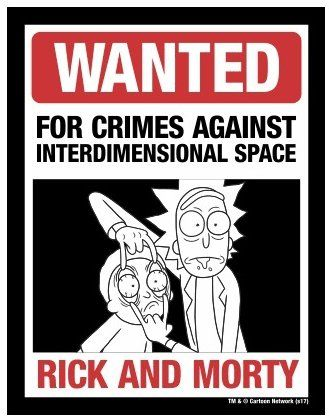 "Placa Decorativa ""Wanted"": Rick And Morty"