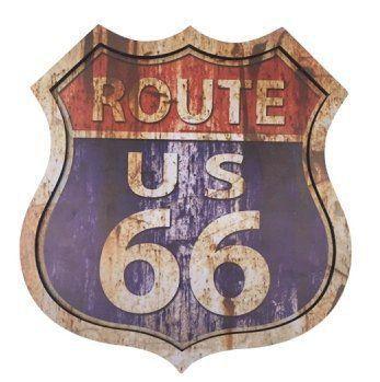 Placa Luminária ROUTE 66