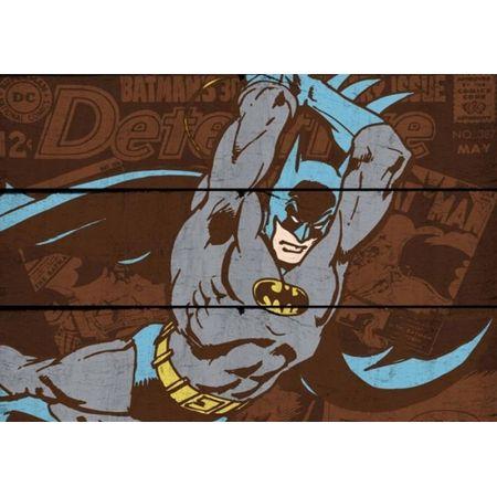 Placa Madeira Batman Attacking - DC Comics