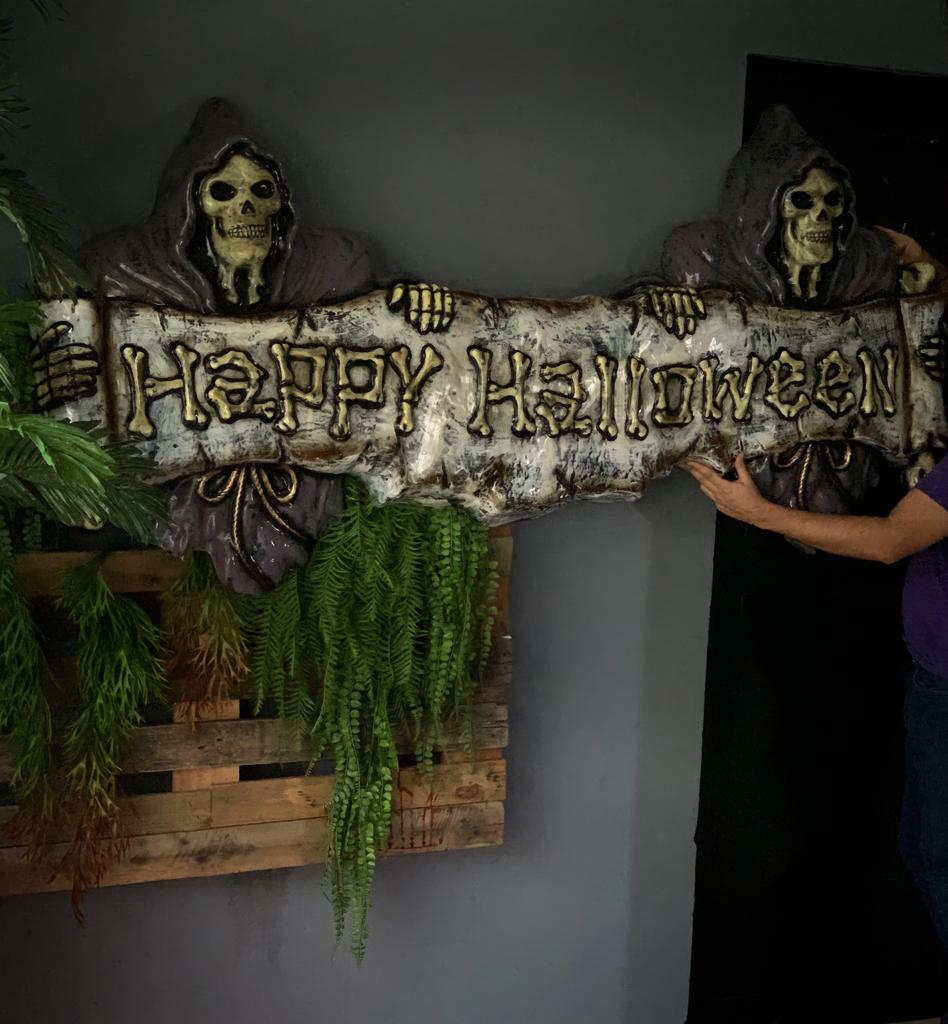 Placa Tela Quadro Decorativa Happy Halloween Caveiras da Morte: Terror Halloween Dia das Bruxas