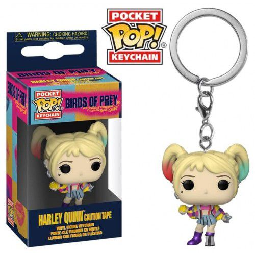 Pocket Pop Keychains (Chaveiro) Alerquina (Harley Quinn Caution Tape): Aves de Rapina (Birds Of Prey) - Funko