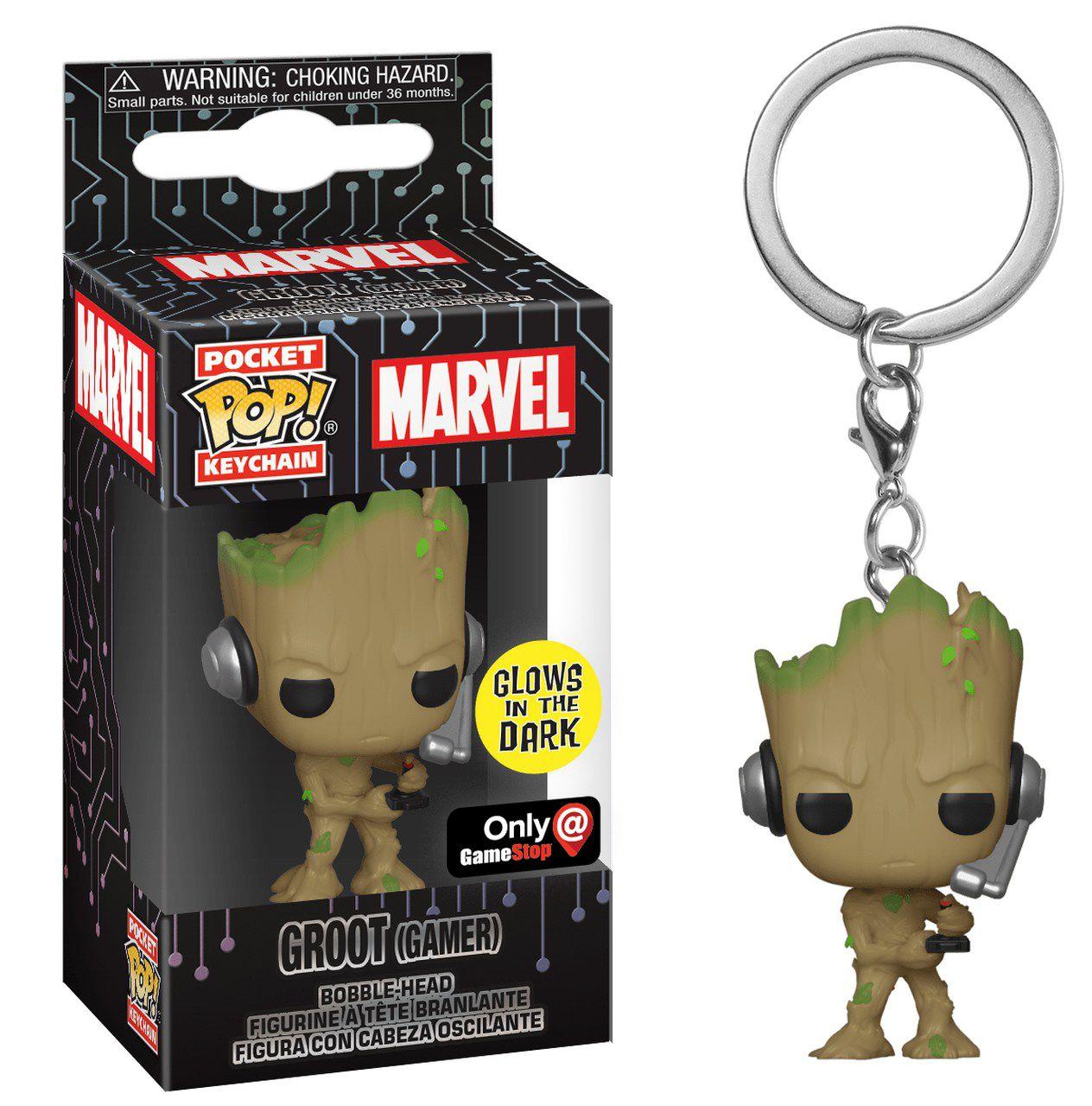 Funko Pocket Pop Keychains (Chaveiro) Groot (Gamer) GITD: Marvel Comics - Funko