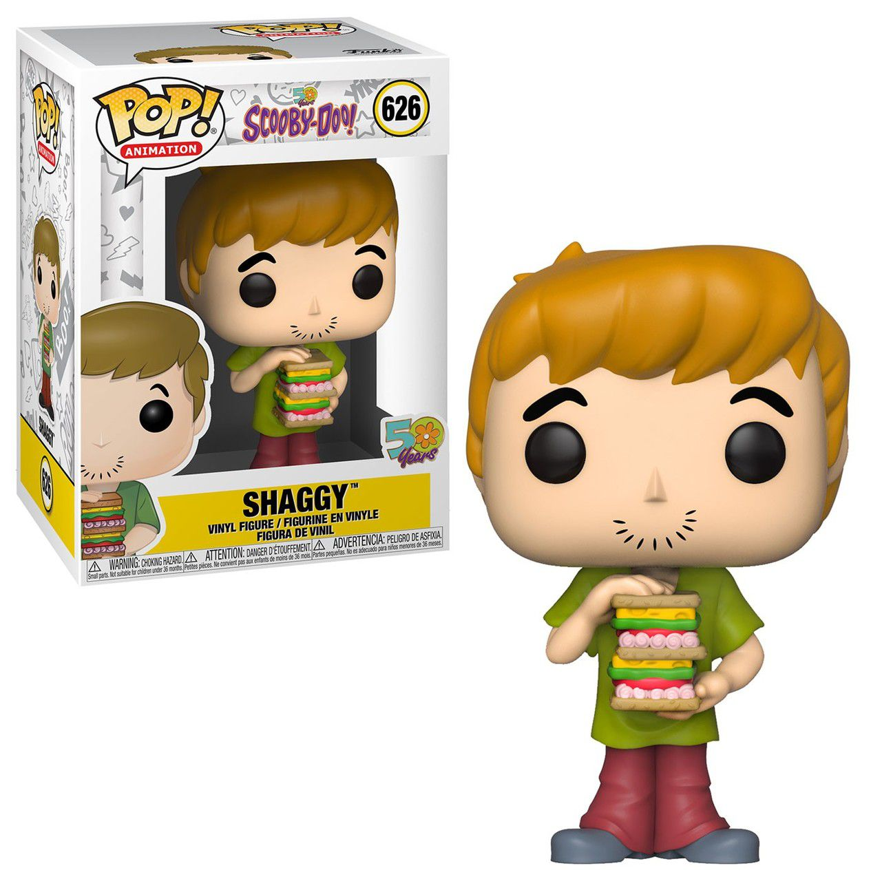 Funko Pop! Salsicha (Shaggy With Sandwich): Scooby-Doo (50 years) #626 - Funko