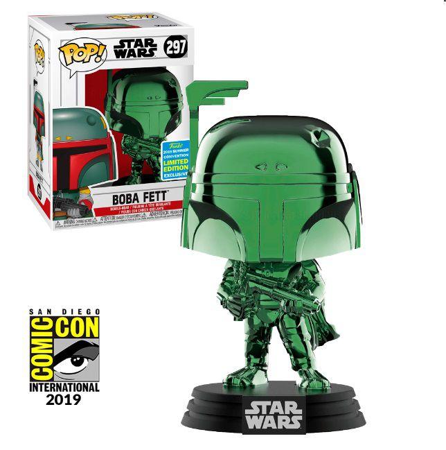 Pop! Boba Fett (Chrome Green): Star Wars (Exclusivo SDCC) #297 - Funko