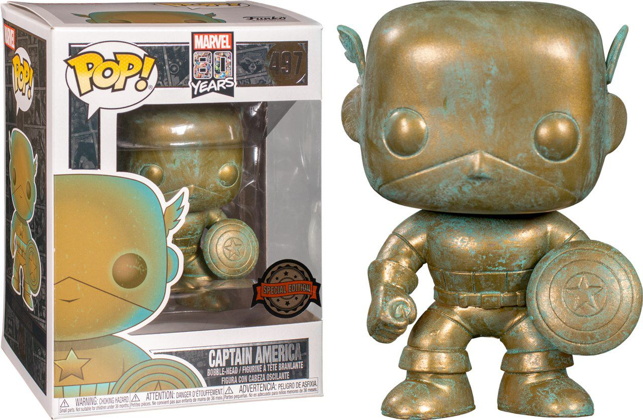 Funko Pop! Capitão América (Captain America Patina): Marvel 80th (Exclusivo) #497 - Funko