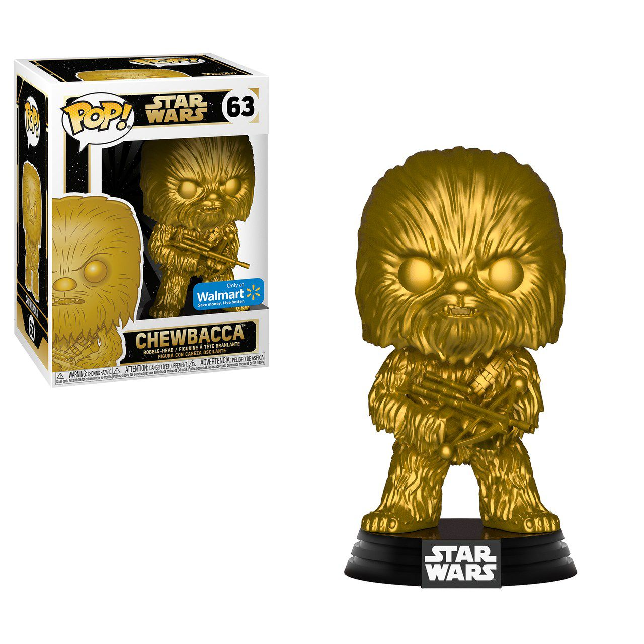 Pop! Chewbacca: Star Wars (Gold Metallic) Exclusivo #63 - Funko (Apenas Venda Online)