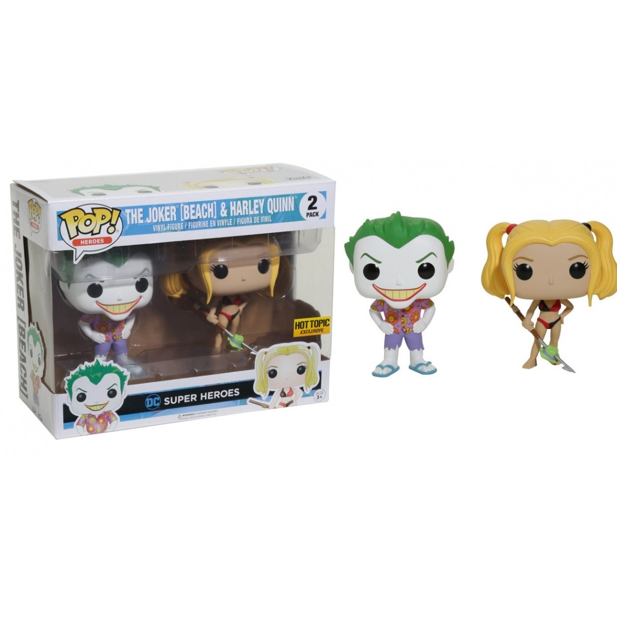 Funko Pop Coringa e Harley Quinn Roupa de Praia (The Joker & Harley Quinn): DC Super Heroes Exclusivo #2 - Funko