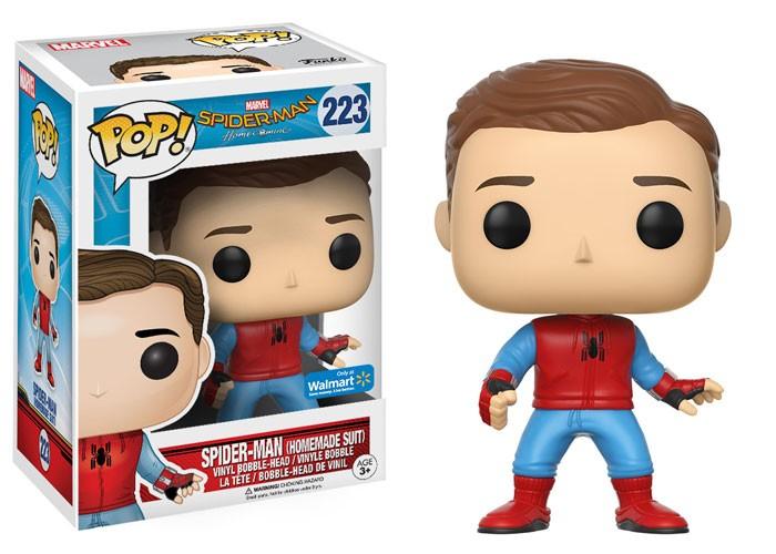 Funko Pop Homem-Aranha Sem Máscara com Uniforme Caseiro (Spider-Man: Homemade Suit): Homem-Aranha De Volta ao Lar (Spider-Man Homecoming) #223 - Funko
