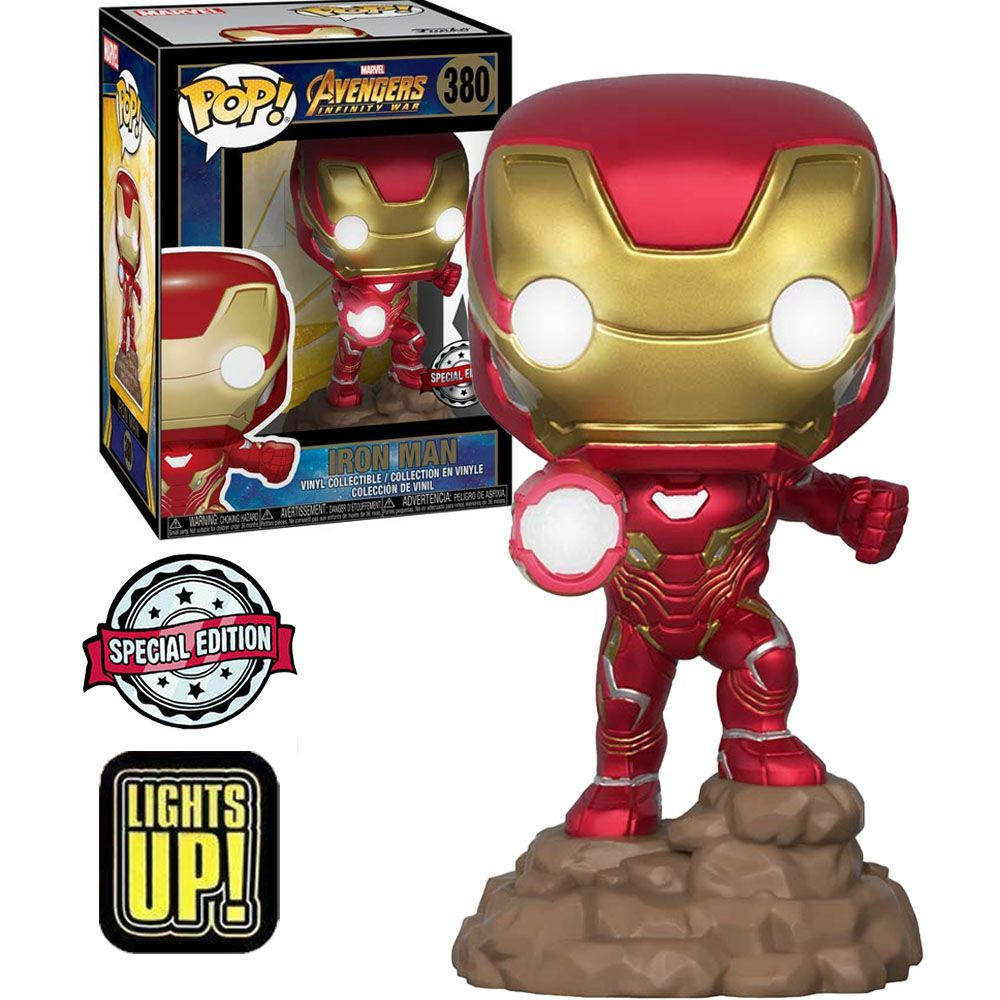 Pop! Homem de Ferro (Iron Man): Vingadores Guerra Infinita (Avengers Infinity War) Exclusivo (Lights UP) #380 - Funko