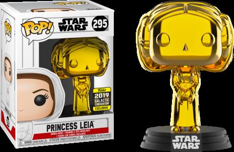 Pop! Princesa Leia (Gold Chrome): Star Wars (Exclusivo) #295 - Funko