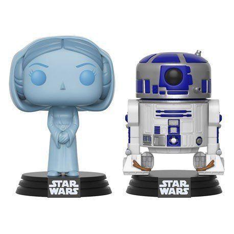Funko Pop Princesa Leia (Holográfico) e R2-D2: Star Wars Exclusivo #2 - Funko