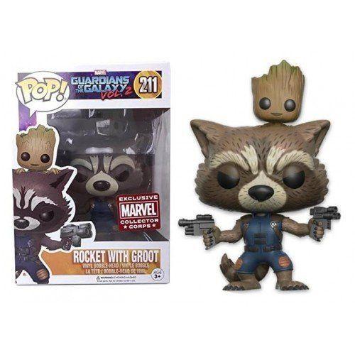 Funko Pop! Rocket With Groot (Exclusivo): Guardians of the Galaxy Vol. 2 (Guardiões da Galáxia Vol.2) #211 - Funko