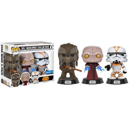 Funko POP Star Wars: Tarfful, Emperador palpatine e Utapau Clone Trooper #3 Exclusivo Pack com 3 Pop Funko