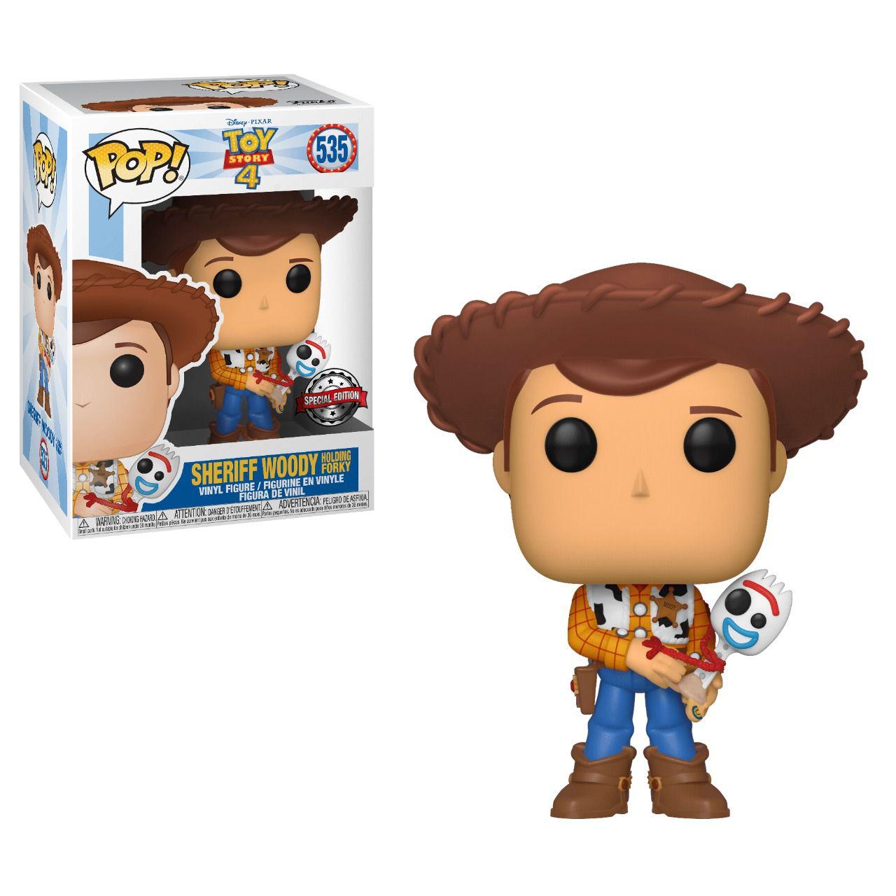 Pop! Woody Com Garfinho (Holding Forky): Toy Story 4 (Disney) Exclusivo #535 - Funko