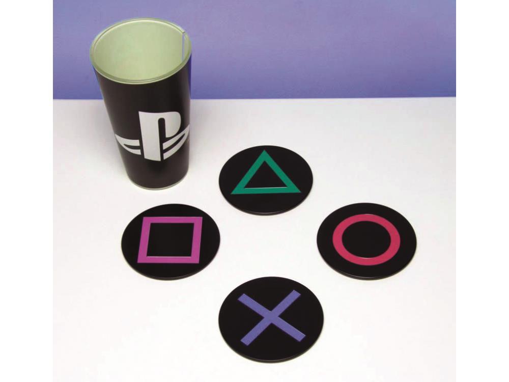 Porta Copos Botões Playstation (Set com 4)