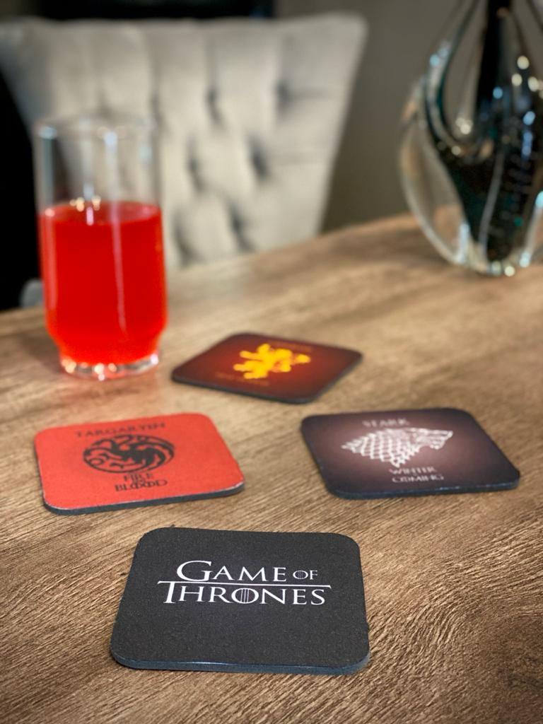 Porta Copos Casas: Game Of Thrones (Set com 4) - Fábrica Geek