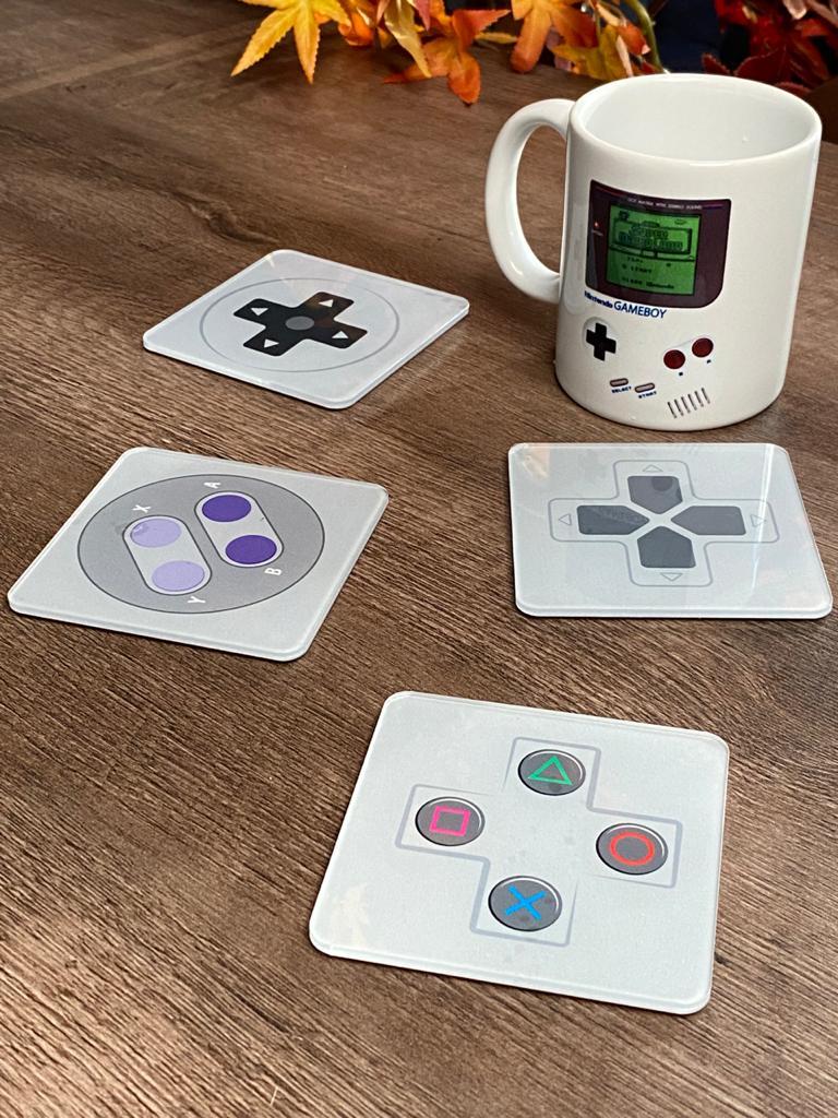 Porta Copos Controle de Game (Nintendo e PlayStation) - Set com 4 - EV