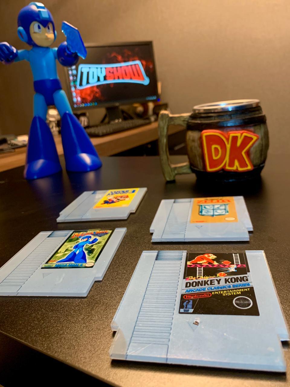 Porta Copos Fitas Super Mario 3, Mega Man, Donkey Kong e Zelda: Nintendo - Set com 4