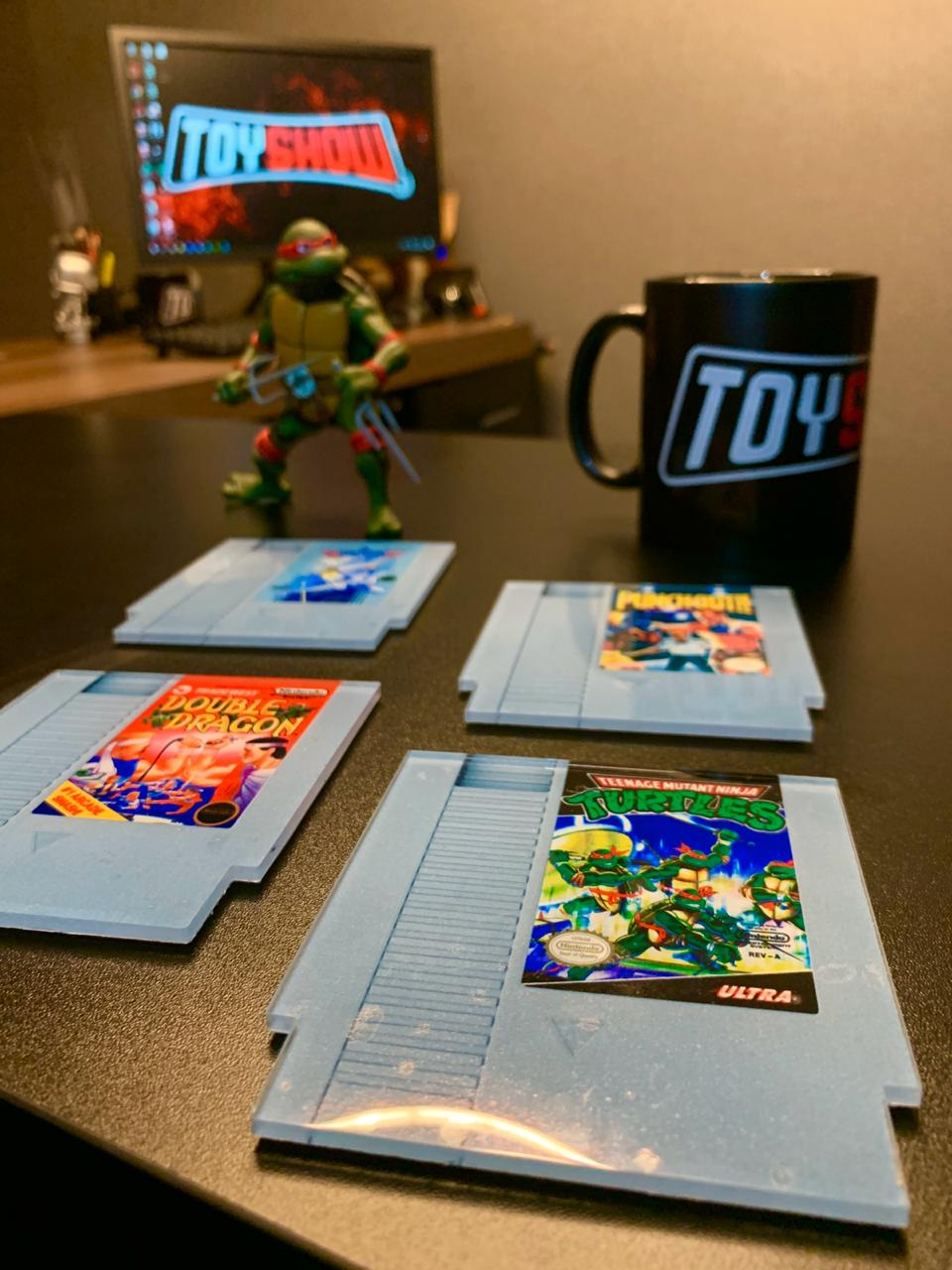 Porta Copos Fitas Top Gun, Teenage Mutant Ninja Turtles, Punch-Out e Double Dragon: Nintendo - Set com 4