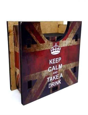 Porta Copos Keep Calm and Take a Drink Set com 6 descansos