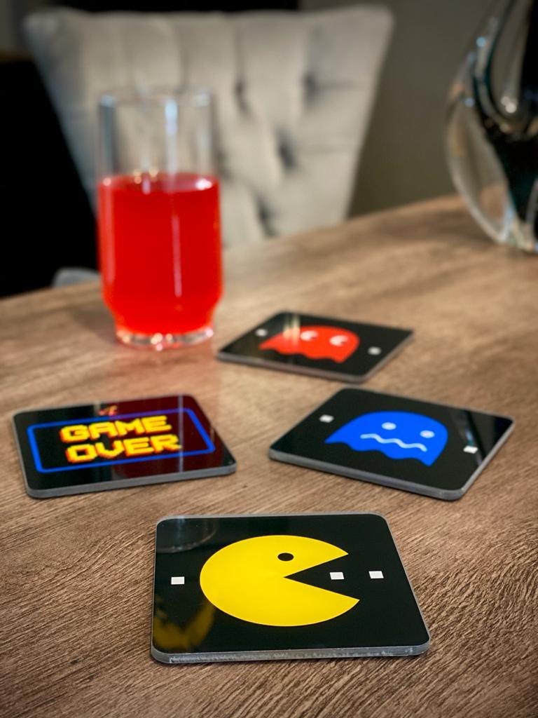 Porta Copos Pac-Man (Set com 4)