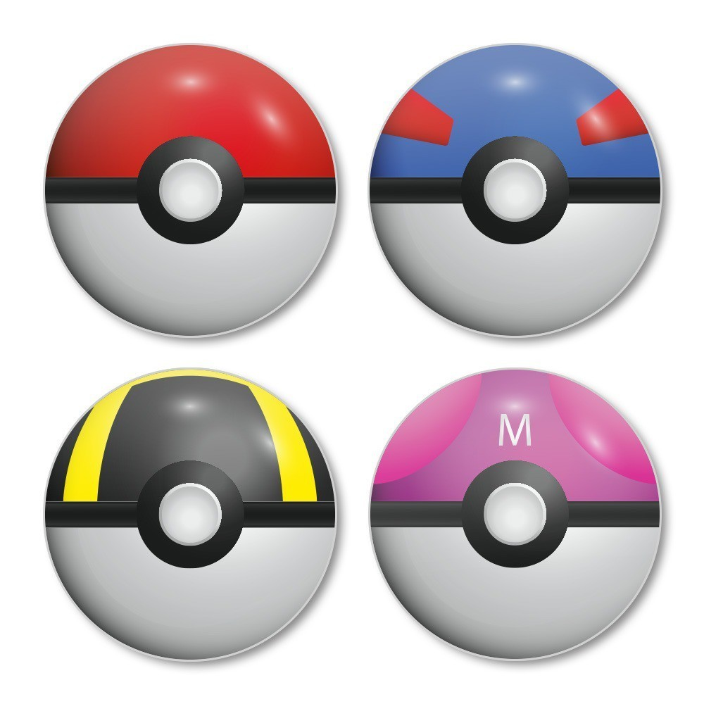Porta Copos Pokébolas: Pokémon (Set com 4)