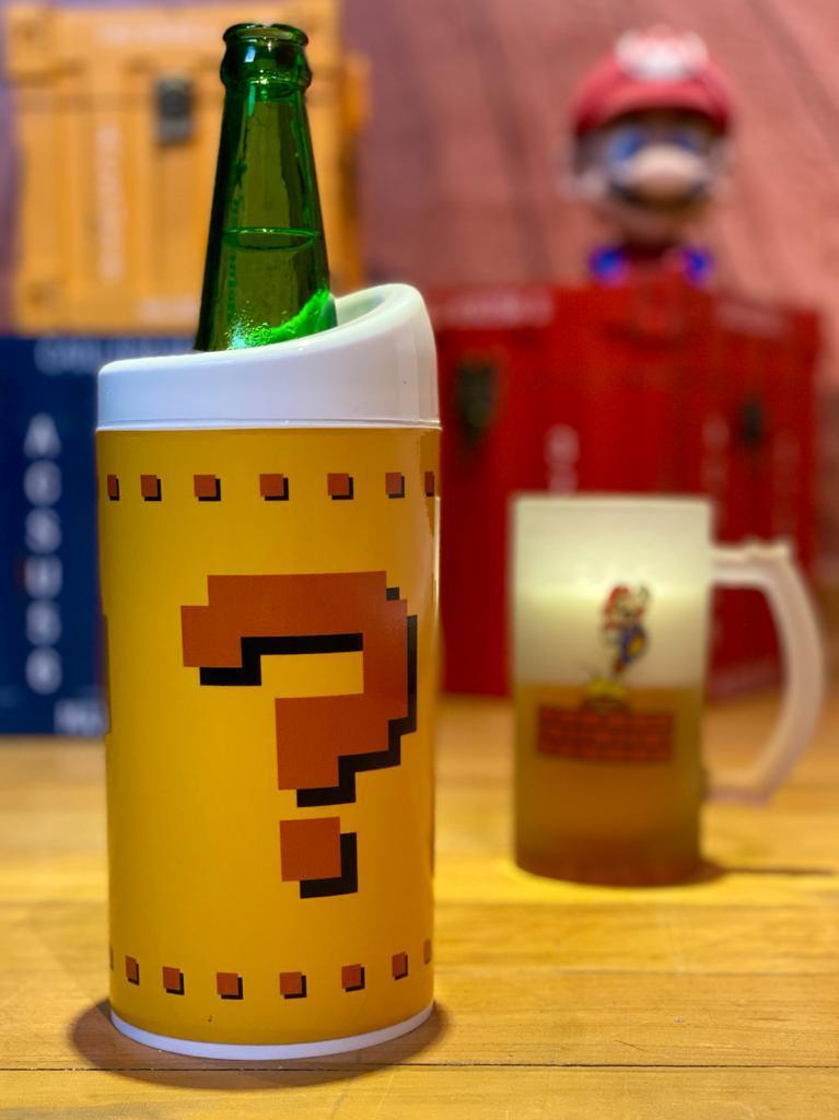 Porta Garrafa Térmico: Bloco de Interrogação ( Super Mario Bros ) - (600ml) - EV