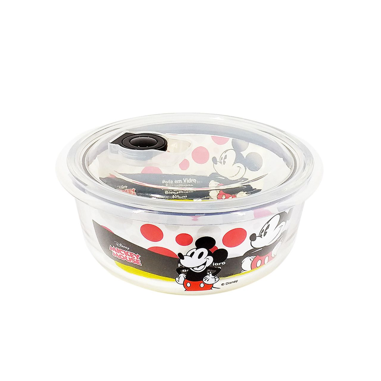Pote de Vidro Com Tampa e Válvula (650ml): Mickey Mouse - Disney