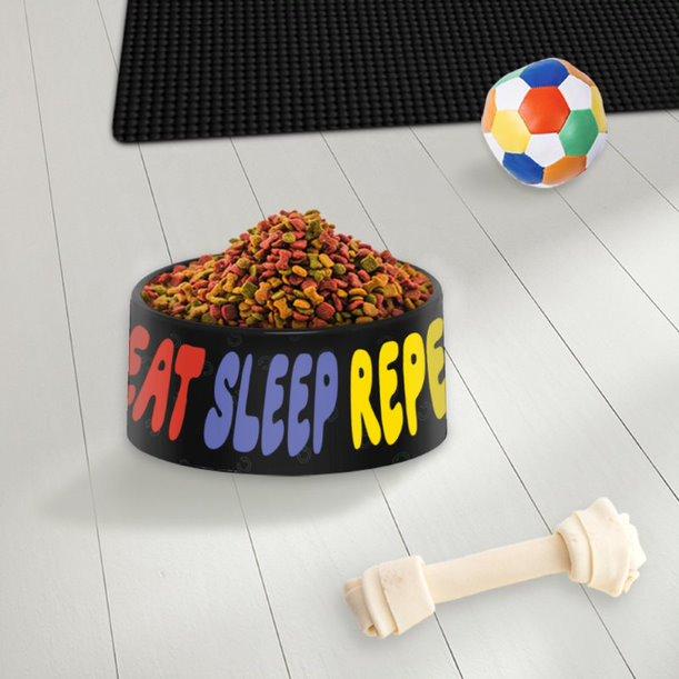 Pote Ração Comedouro Geek Pets Cachorro Gato Eat Sleep Repeat Come Durme Repite - EV