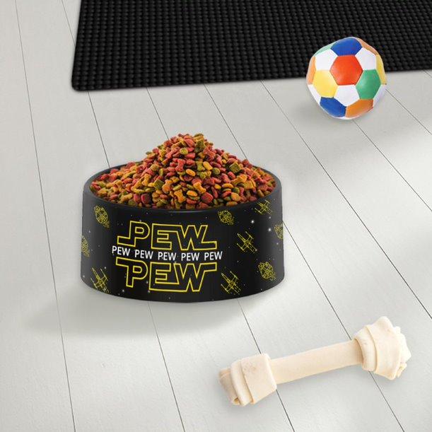 Pote Ração Comedouro Geek Pets Cachorro Gato Pew Pew Pew Amarelo: Star Wars Disney - EV