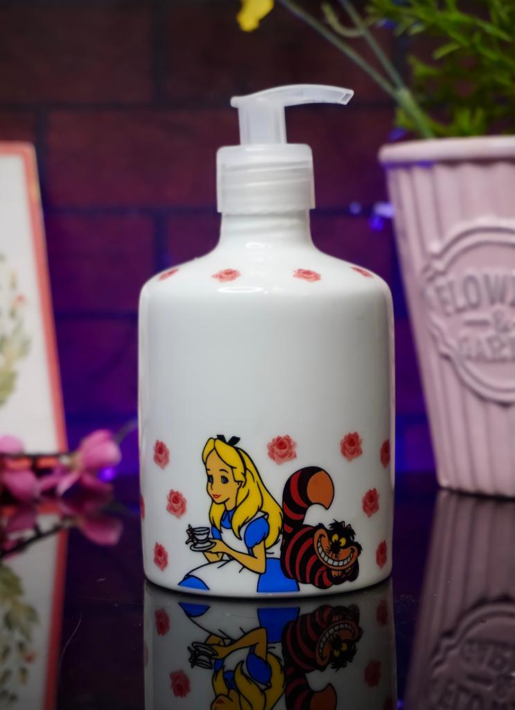 Pote Sabonete Saboneteira Dispensador Médio Princesa Alice: Alice No País Das Maravilhas Branca 400ml - Disney