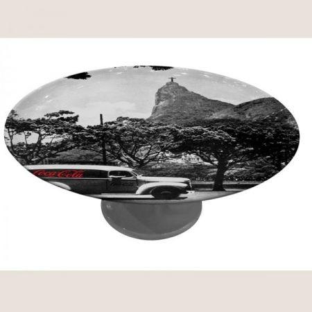 Prato de Bolo com Pé Porcelana Coca-Cola Landscape Rio de Janeiro