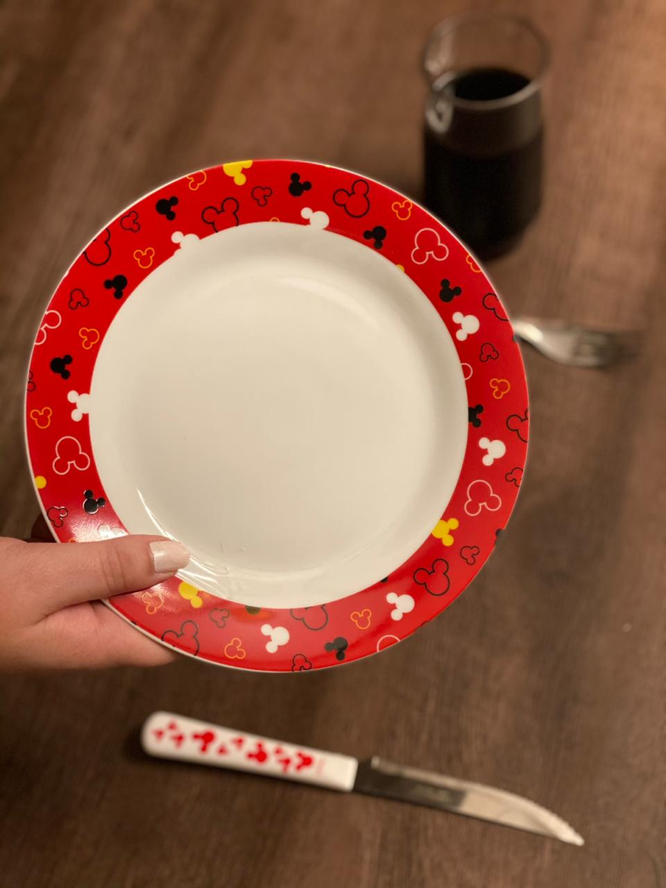Prato de Sobremesa Mickey Mouse: Disney (Vermelho)