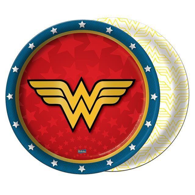 Prato Papel Wonder Woman - Festcolor