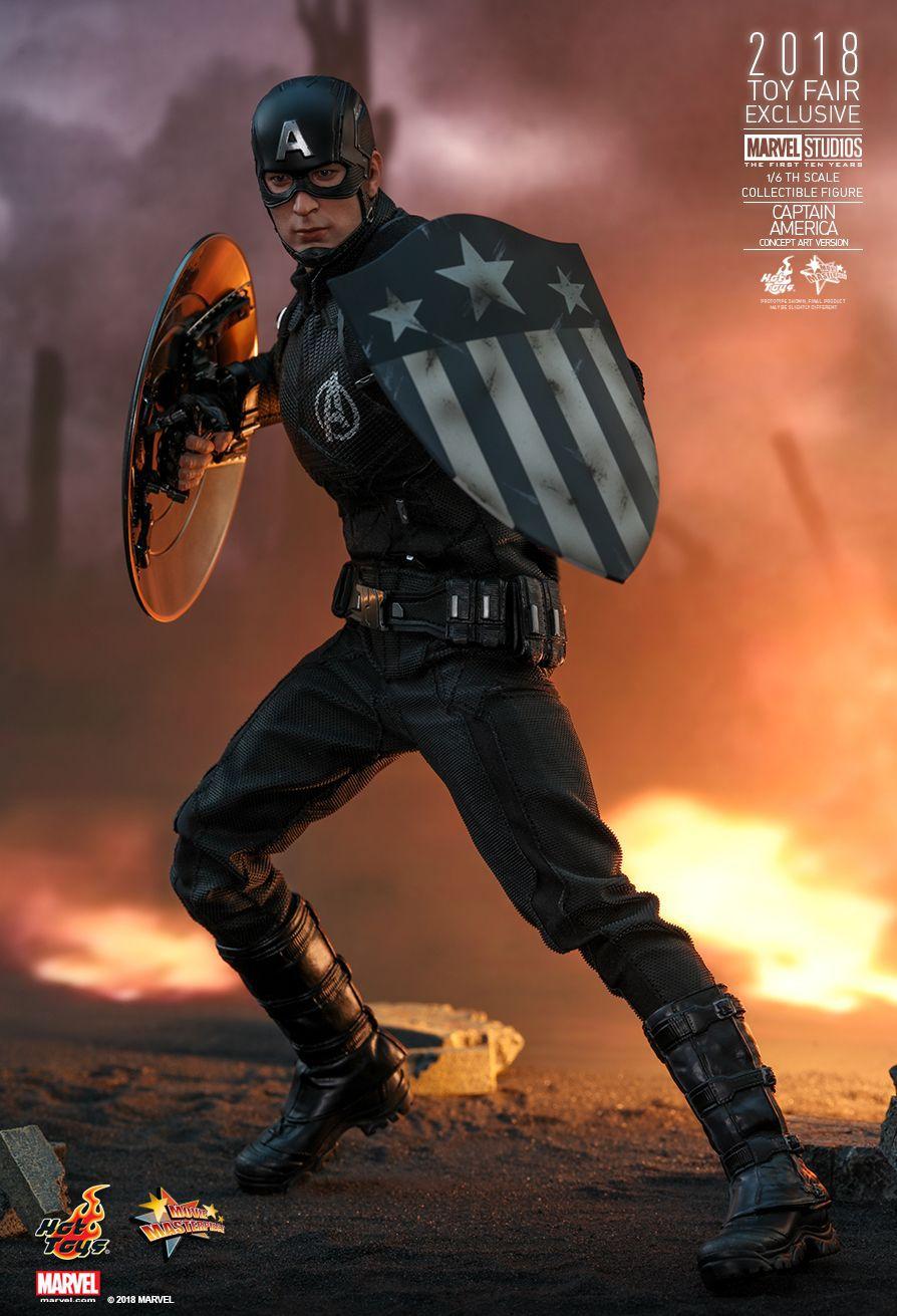 Action Figure Capitão América (Captain America): Marvel Studios The First Ten Years (Concept Art Version) (MMS488) Boneco Colecionável - Hot Toys