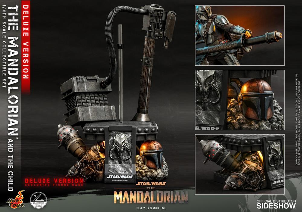Pré Venda: Action Figure Mandalorian e Grogu ''Baby Yoda'' Deluxe  (The Mandalorian and The Child Deluxe): The Mandalorian (QS016) Escala 1/4  - Hot Toys