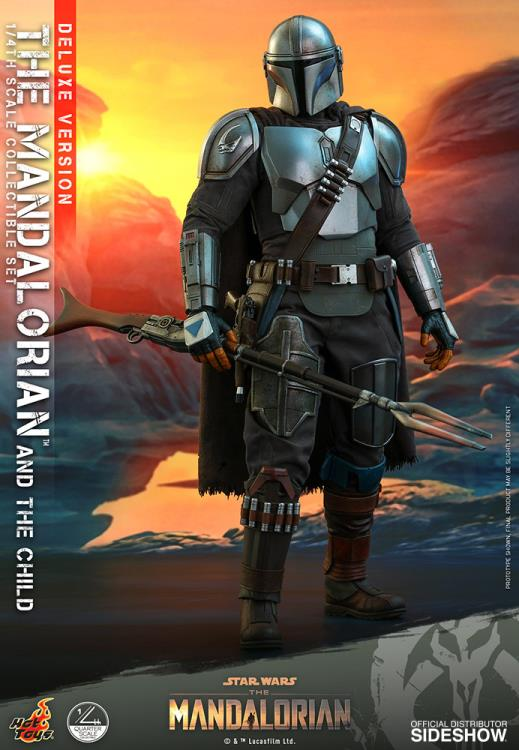 Pré Venda: Action Figure Mandalorian e Grogu ''Baby Yoda'' Deluxe  (The Mandalorian and The Child Deluxe): The Mandalorian (QS016) Escala 1/4  - Hot Toys