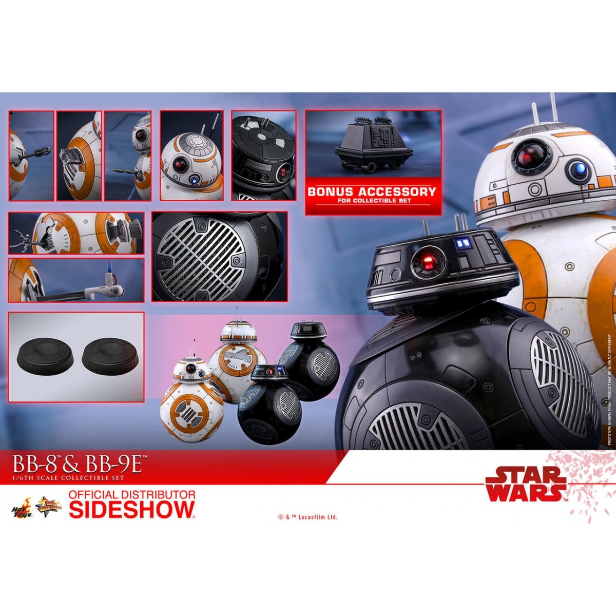 Action Figure BB-8 e BB-9E: Star Wars Os Últimos Jedi (The Last Jedi) Escala 1/6 (MMS442) - Hot Toys