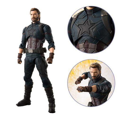 Boneco Capitão América (Captain America And Effect Explosion ): Vingadores Guerra Infinita (Avengers Infinity War) S.H.Figuarts - Bandai