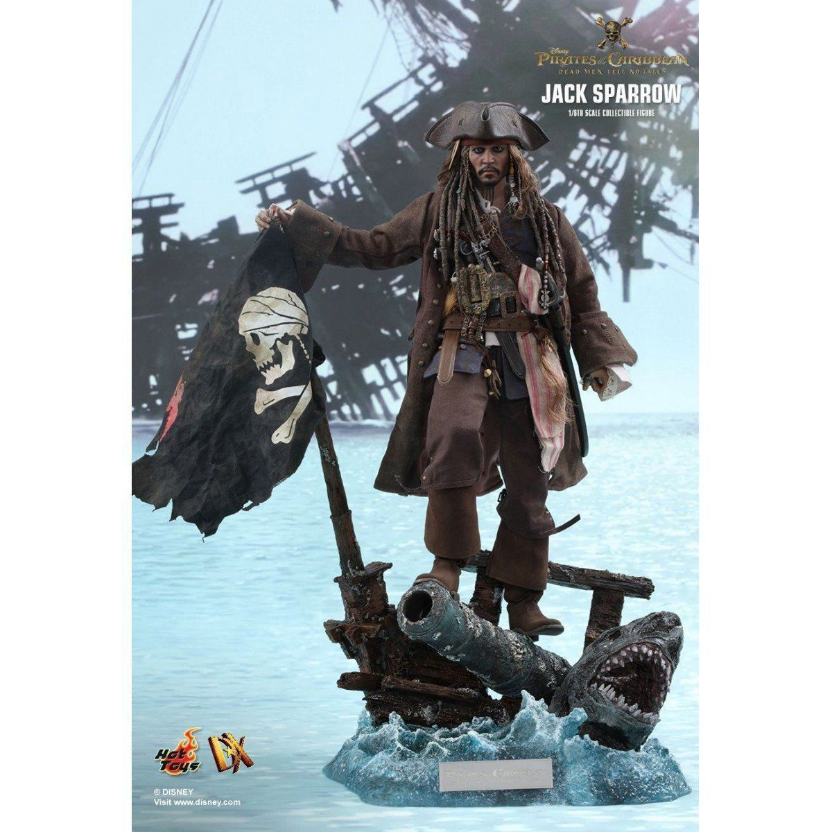 Action Figure Jack Sparrow: Piratas do Caribe A Vingança de Salazar (Dead Men Tell No Tales) Escala 1/6 (DX15) - Hot Toys