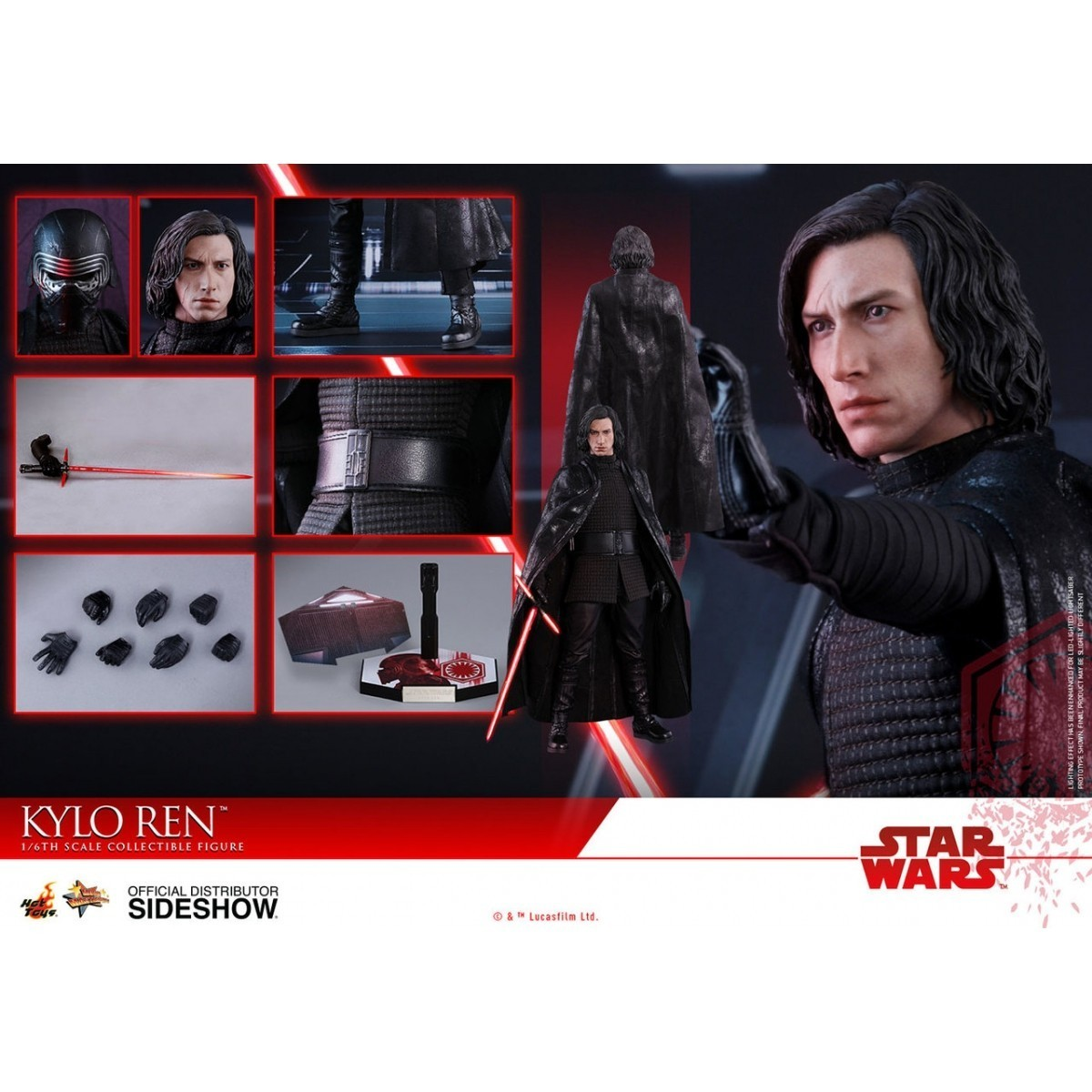 PRÉ VENDA: Boneco Kylo Ren: Star Wars Os Últimos Jedi (The Last Jedi) Escala 1/6 - Hot Toys