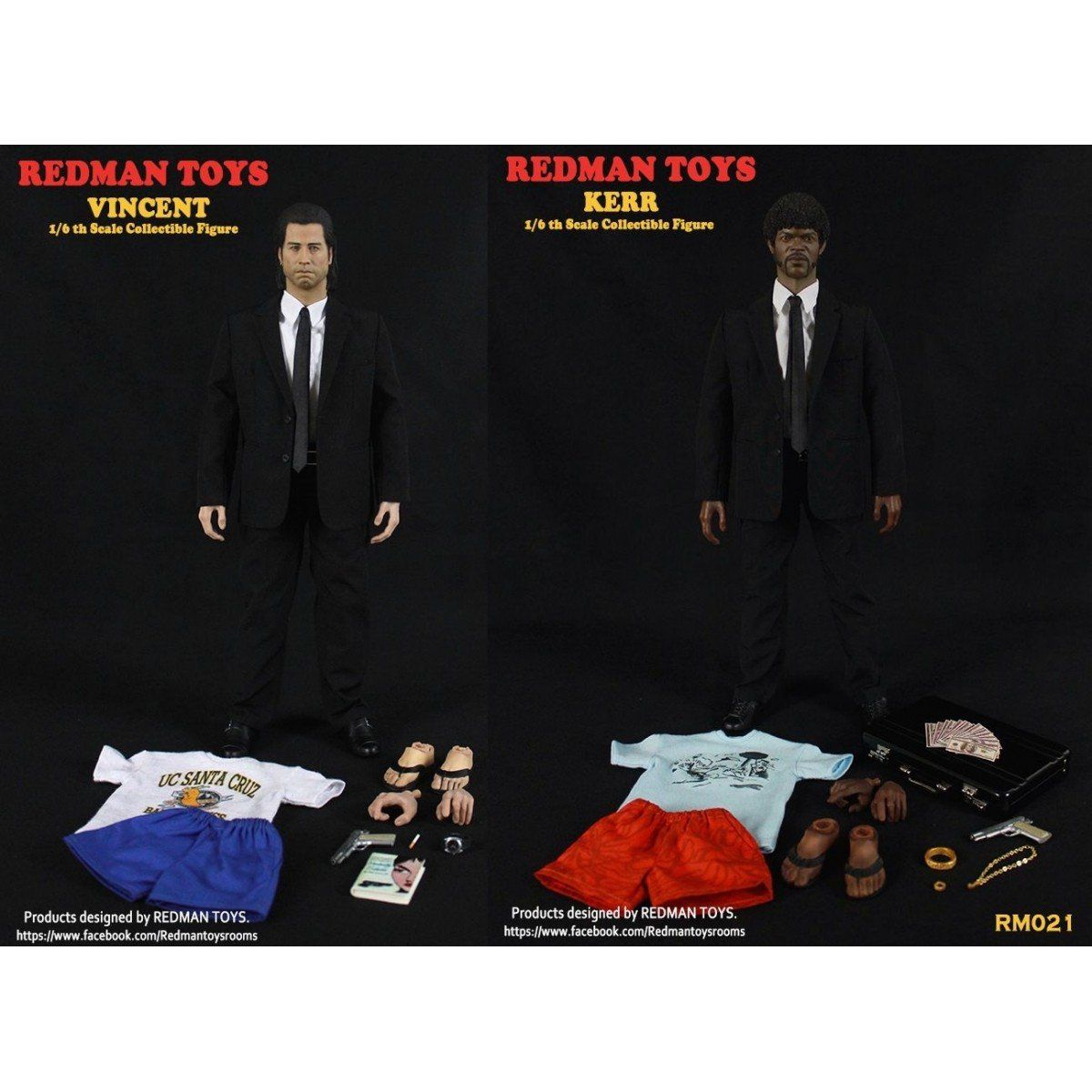 PRÉ VENDA: Boneco Vincent Vega e Jules Winnfield (Vincent & Kerr): Pulp Fiction: Tempo de Violência Escala 1/6 - Redman Toys