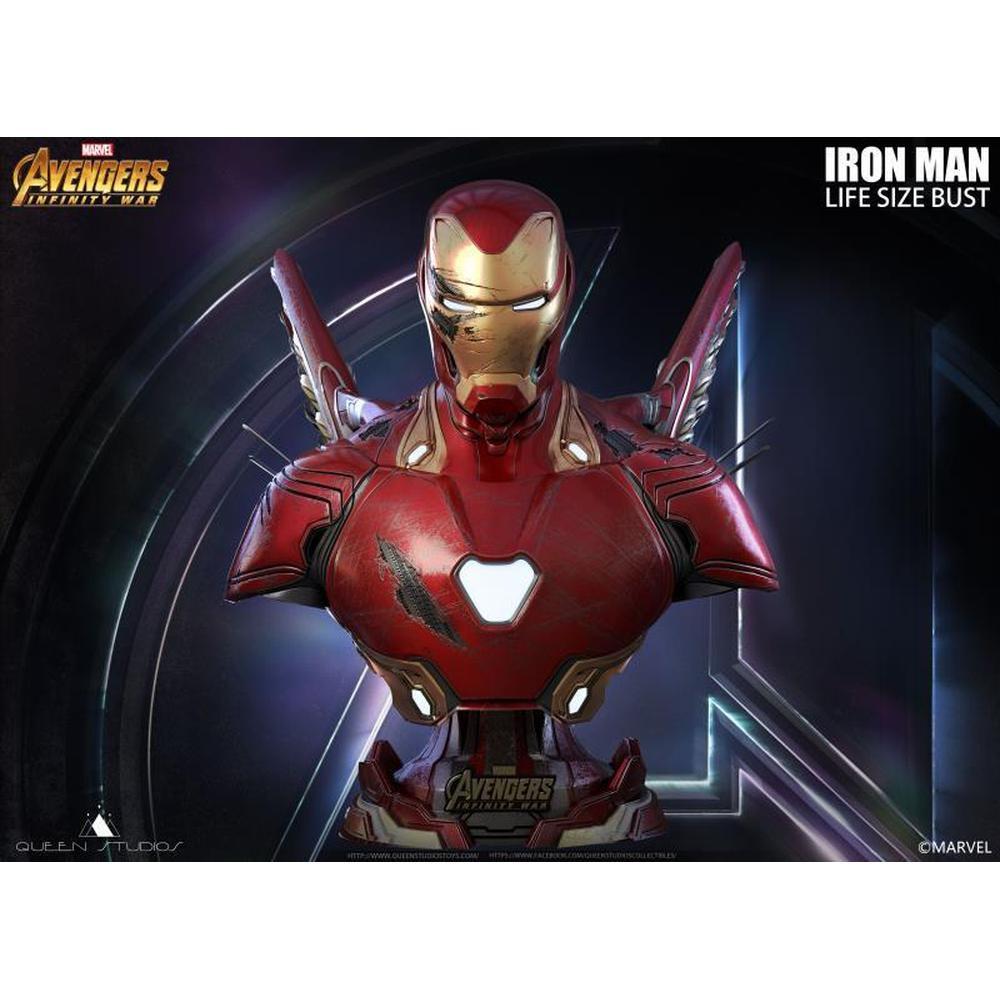 PRÉ-VENDA Estátua Busto Homem de Ferro (Battle Damage): Vingadores Guerra Infinita (Avengers Infinity War) Escala 1/1 - Queen Studios