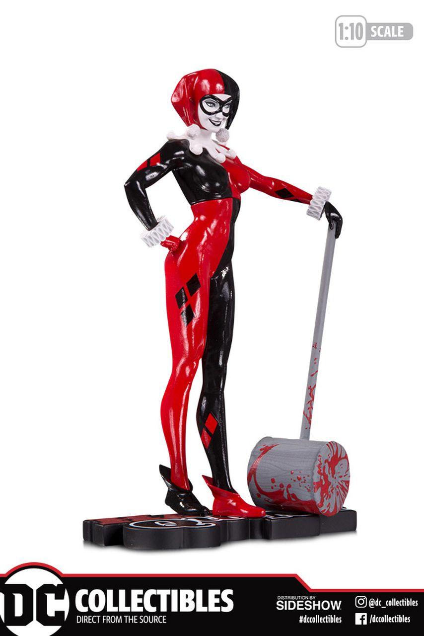 PRÉ VENDA: Estátua Arlequina (Harley Quinn) Red, White & Black (Adam Hughes) Limited Edition - DC Direct
