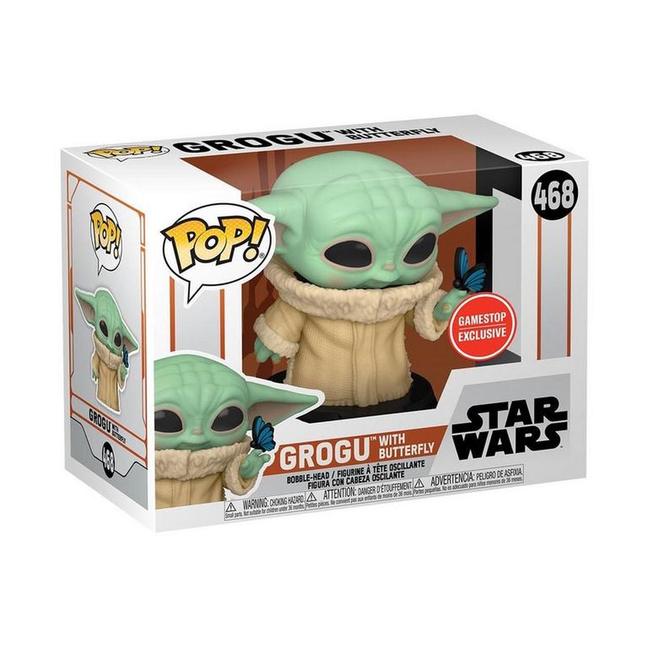 Funko Pop! Grogu Baby Yoda With Butterfly: Star Wars The Mandalorian Edição Especial Special Edition Exclusivo #468 - Funko