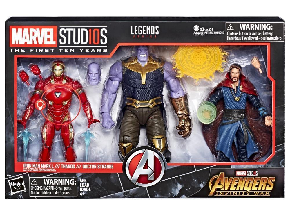 PRÉ VENDA: Pack Bonecos Homem de Ferro / Thanos / Doutor Estranho (10 Anos Marvel Studios): Vingadores Guerra Infinita (Avengers: Infinity War) - Marvel Legends Series