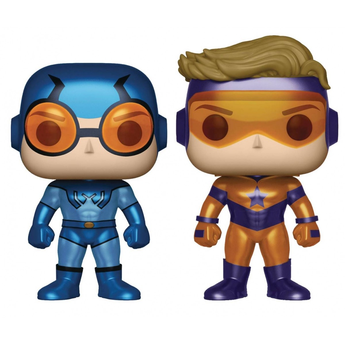 PRÉ VENDA: Pack Pop Booster Gold & Blue Beetle Metálico PX Previews Exclusive (Set de 2) - Funko